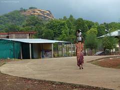 Woman carries water in this way for a kilometre. (rajkumardongare) Tags: ratangad ratanwadi ratanvadi bhandardara nagar district rural culture maharashtra village amruteshwar temple amruteshvar