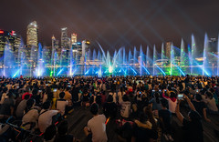 Light and Water Show (maison_2710) Tags: city street water travel night light urban cityscape singapore concert music live party performance stage panoramic crowd sound illuminated festival celebration marina bay sands audience
