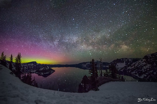 Milky way and northern lights over Crater Lake