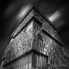 Tryout Number 2 (Alec Lux) Tags: antwerp bw mas abstract antwerpen architecture belgium black white blackandwhite blackandwhitephotography building city cityscape clouds design fine art fineart geometric lines long exposure longexposure longexposurephotography minimal minimalism modern monochrome museum sky urban blackandwhiteblackandwhitephotography