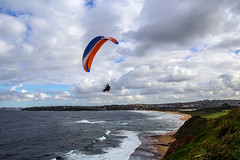 Free as the wind (LSydney) Tags: coast paraglider clouds beach surf longreef