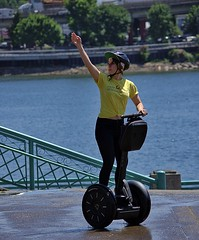Segway Tour Guide (swong95765) Tags: segway woman female lady tour guide signal wave pretty