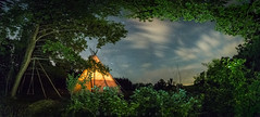 Tepee night - the Cowboy view (Martin Zurek) Tags: tepee distagon distagont2815 ze zeiss 5dmkiii canon sky milkyway trees leaves clouds light illumination view holiday rural landscape nature panorama tipi tent adventure travel night stars long time exposure europe germany bavaria bayern