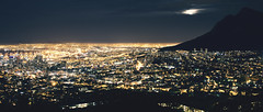 Cape Town at Night (T_Schildbach) Tags: lionshead signalhill capetwon longexposure night evening city lights moon canon sigma