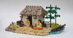 The Chinampa (W. Navarre) Tags: aztec chinampa homestead house willow tree hut roof thatch minifigure minifig