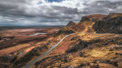Round the bend.............. (Einir Wyn Leigh) Tags: skye island isle scotland mountains quiraing nature road magnificient love view scenery pov orange brown green golden rugged uk sky clouds drama moody holiday vacation range