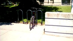 Bicycle at Spies Public Library! (Maenette1) Tags: bicycle rack spiespubliclibrary lawn sidewalk shade menominee uppermichigan flicker365