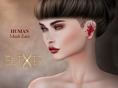 ..ELIXIR.. Human Ears V1.01 [Basic Ears] (julieabd) Tags: ears blood tattoo facial mesh head slink applier adam catwa logo gaeg akeruka omega genesis lab lag
