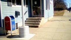 American Legion entrance - SFS (Maenette1) Tags: americanlegion entrance stairs mailbox sidewalk door windows trees menominee uppermichigan saturdayforstairs flickr365