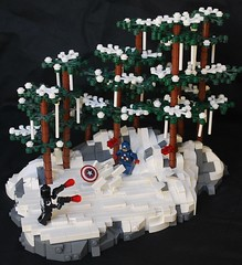 Agent Venom VS Captain America (Ben Cossy) Tags: lego marvel venom flash thompson ice snow tree forrest forest rock comic rick remender pew shield fwoosh cap civil war spider island comicbook sdcc symbiote gun