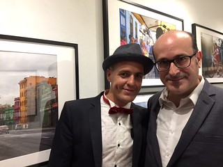 Photographer Dmitry Zhitov with Books&Books manager Victor Santiago at the opening of Dmitry's photographs at Books &Books in Coral Gables