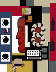 Composición (Emulando a Ferdinand Léger) (seguicollar) Tags: imagencreativa photomanipulación art arte artecreativo artedigital virginiaseguí imitandoleger cubismo vanguardia rostro cara faz ruedas sombrero botellas surreal surrealista
