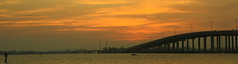 MORNING ON THE RIVER (R. D. SMITH) Tags: sunrise river bridge florida dawn orange melbourneflorida sky morning canoneos7d clouds panorama brevaedcountyforida