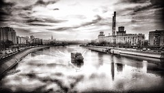 #Moscow #River #Cityscape black and white (NO PHOTOGRAPHER) Tags: outdoor view iphoneography iphone reflection sky cloud boat city blackandwhite cityscape river moscow hochhaus gebäude monochrome building architecture exterier urban blue skycraper 6s москва россия архитектура строительство река мост