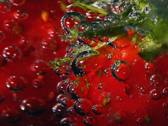 Strawberries In Lemonade (1selecta) Tags: stawberries lemonade drink soda pop liquid wet food fruit edible bubble bubbles seed seeds red green white black round circle air airbubble airbubbles
