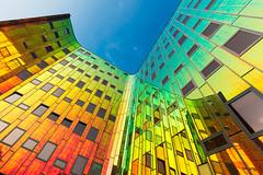 L'arc en ciel offices (Guy Goetzinger) Tags: office deventer rainbow building modern architecture blue trend best mirror nikon d800 holland netherland bottomsup focus goetzinger perspective