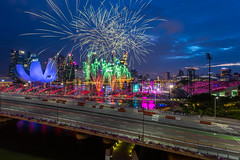 National Day Parade 2017 Rehearsal Fireworks (BP Chua) Tags: fireworks nationalday ndp2017 onenationtogether ndp singapore bluehour bluesky marinabay colours colourful road landscape canon 1dx wideangle