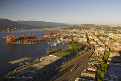 BC Rail in the Port. (Christian Vazzaz) Tags: bcr bcol bcrail cn cnr cnrail explorebc explore hellobc british columbia general electric van cover lookout bc beautiful trains port downtown sunset