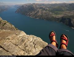 20160608_02 My orange feet (which aren't that asymmetrical IRL) & lovely red Teva sandals on Preikestolen (604 m cliff), Norway (ratexla) Tags: ratexla'snorwaytrip2016 preikestolen norway 8jun2016 2016 canonpowershotsx50hs norge scandinavia scandinavian europe beautiful earth tellus photophotospicturepicturesimageimagesfotofotonbildbilder europaeuropean summer travel travelling traveling norden nordiccountries roadtrip wanderlust journey vacation holiday semester resaresor landscape nature scenery scenic ontheroad sommar norwegian fjord fjords lysefjord lysefjorden coast ocean me ratexla feet barefeet teva tevas sandals red water pulpitrock gsgsgs favorite