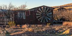 Windmill Wheel (nikons4me) Tags: nm newmexico windmill wheel blades ghosttown semighosttown rust rusty shed nikonafsdx18200mmf3556gifedvr nikond200 steins dawn hidalgocounty peloncillomountains