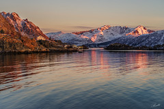 Calm of first light (mad_ruth) Tags: lofotenislands dawn sea sunrise mountains reflections