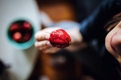 strawberry (ewitsoe) Tags: strawberry berry fruit woman bite eating breakfast healthy poznan poalnd polska lady eat dine erikwitsoe ewitsoe canon eos5ds sigma35mmart series lens glass home spring tasty foodporn food foodie