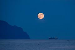 You saw me standing alone (FButzi) Tags: blue moon moonlight bluehour hour genova genoa liguria corso italia italy full