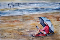 Tarde de lectura (benilder) Tags: playa beach plage lectura lecture reading watercolour watercolor acuarela aquarelle benilde
