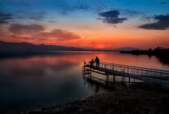 on the bridge (dim.pagiantzas   photography) Tags: bridge landscape water waterscape lakes colors colorfull sky clouds atmospheric reflections serenity nature mountains trees plants people environment sunrise sunset light outdoor