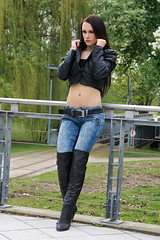 Alexandra 35 (The Booted Cat) Tags: sexy cute girl model tight blue jeans denim leather jacket overknee overkneeboots boots heels highheels