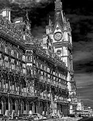 Renaissance Hotel, Saint Pancras (Snapshooter46) Tags: renaissancehotel saintpancras architect georgegilbertscott architecture gothicrevival london railwayhotel midlandrailway photosketch monochrome blackandwhite clocktower ornate