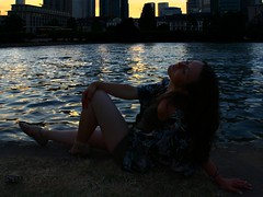 Close your eyes (Nathalie_Désirée) Tags: dream frankfurt frankfurtammain main water waterscape sunset evening mood moody atmosphere light sun silhouette mainhattan building skyscraper eveninglight waves contrast girl person summer river closedeyes drygrass city serenade ndm darkness expression feeling enjoy life alive dreaming thought reflection thinking canoneos600d 1855mm desertrose wish