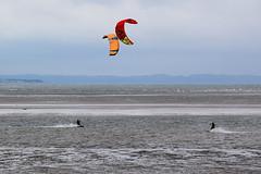 kite surfing 8 (Lord Edam) Tags: sea coast coastline beach river sand rocks llandudno conwy clouds waves mountains groyne kite surfing kitesurfing actionsports