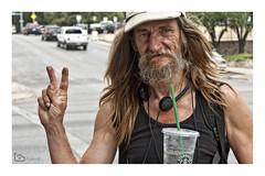 Star Bucks (alamond) Tags: homeless starbucks coffee mug cup v victory canon 40d austin texas usa downtown straw portrait street streetphotography candy snapshot brane zalar alamond