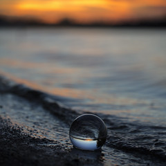 (donna leitch) Tags: glass crystalball lake sunset waves water sky northernontario donnaleitch eugenia