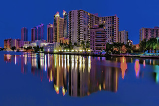 View of the skyline of Hollywood Beach, Broward County, Florida, USA