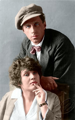 Vsevolod Meyerhold and Zinaida Reich (1923) (Michael Olshansky) Tags: people portrait image recolored theatre