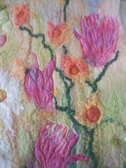 Summer Floral Felt Wall Hanging (Marian Elizabeth May) Tags: wallhanging feltpicture wetfelting wetfelted flowers summer pink purple hollyhocks textileart blythwhimsies etsyseller freemachineembroidery woolpicture