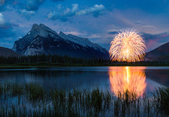 Canada 150 Day Fireworks over Banff, Alberta (TheDailyNathan) Tags: mtrundle mountrundle banff banffnationalpark parkscanada fireworks night longexposure twilight dusk sunset candayday canada150 lake reflection vermillionlakes vermillionlake firstvermillionlake