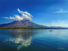 bali (sandilesmana28) Tags: bali water blue landscape cloud mount batur fisherman boat