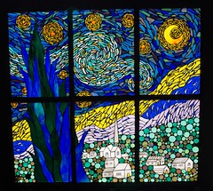 """'Starry Night' Mosaic Just finished this piece...glass on glass mosaic on a salvaged window...measures 34""""x32"""". (Meaco's Art Garden) Tags: mosaic vangogh starrynight glassonglass glassart stainedglass mosaicartist glass vangoghart starrynightmosaic"""