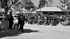 Bikers' Party (EmperorNorton47) Tags: lakeforest california photo digital summer blackandwhite sheriff outlawbikers motorcycles thingsonwheels riotgear