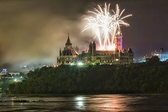 Birthday bash for Canada's 150th (beyondhue) Tags: fireworks canada day 2017 150th birthday parliament canadian beyondhue reflection river peace tower clock hill