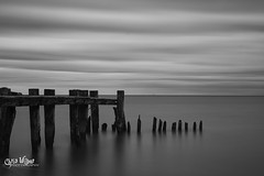 The Depart, and the End (wilbias) Tags: ontario canada sky landscape lake sea water reflection nature beach silhouette evening pier monochrome long 50 exposure point outdoors fifty bw cloudy white black seascape decay dock southern hamilton creek weathered peer erosion stoney erode