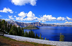 Fifty Shades of Blue, (1 of 2) (louelke - will be gone for 3 weeks) Tags: craterlake craterlakenationalpark oregon deep blue pristine volcano caldera wizardisland cindercone