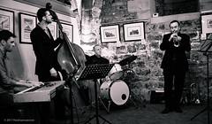 Jazz in the Undercroft (peckhamryecrow) Tags: bbcbigbandquartet durhamcathedral jazzintheundercroft martinshaw peckhamryecrow timgreen doublebass drums trumpet jeremybrown tomgordon deanstockton