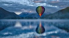 Hot Air Ballooning In The Morning (Stuck in Customs) Tags: arrowtown newzealand otago nz queenstown new zealand southisland islands road horizontal colour color hdr hdrtutorial hdrphotography hdrphoto outdoor outdoors outside rr dailyphoto day daytime lake water mountain travel snow sharp crisp blue white purple brown green yellow black sun clouds 2016 p2017 landscape cloud november sky vehicle boat sony ilce7rm2 shore beach hotairballoon hayes lakehayes