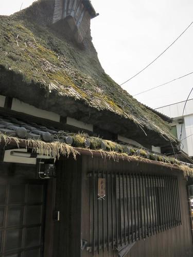 Thatch in the town, Nakasendo at Toriimoto-juku
