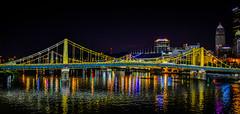 Andy Warhol Bridge at Night - Pittsburgh PA (mbell1975) Tags: pittsburgh pennsylvania unitedstates us andy warhol bridge night pa penn penna pgh pit usa america bro brücke puente pont ponte brug bouwwerk most brig köprü bur broen evening lights allegheny river water