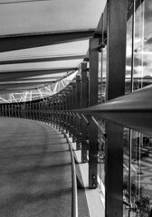 Curve. (red snapper 205) Tags: architecture architectural building curve vanishingpoint perspective explore airport blackandwhite bnw bw monochrome mono